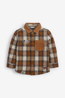 Next Long Sleeve Check Badge Shirt (3mths-7yrs) - 269189