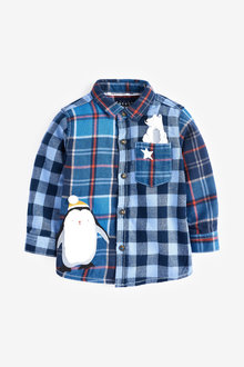 Next Long Sleeve Check Character Shirt (3mths-7yrs) - 269198