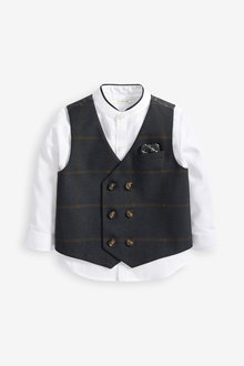 Next Pinstripe Waistcoat, Shirt And Bow Tie Set (3mths-7yrs) - 269218