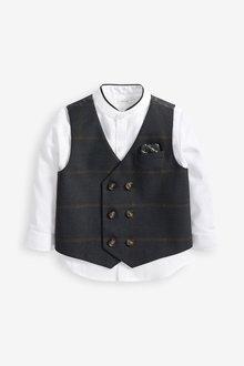 Next Pinstripe Waistcoat, Shirt And Bow Tie Set (3mths-7yrs) - 269218