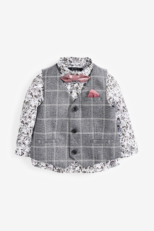 Next Check Waistcoat, Floral Shirt And Bow Tie Set (3mths-7yrs)