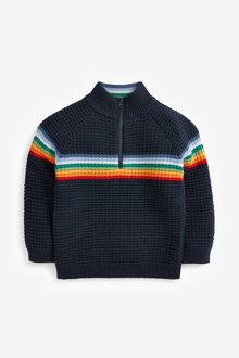 Next Rainbow Stripe Zip Neck Jumper (3mths-7yrs) - 269262