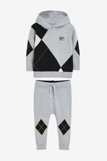 Next Knitted Argyle Pattern Hoody And Joggers Set (3mths-7yrs) - 269264