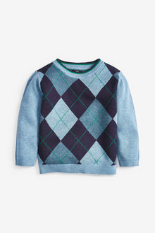 Next Knitted Argyle Pattern Jumper (3mths-7yrs) - 269277
