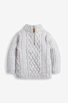 Next Cosy Zip Neck Cable Jumper (3mths-7yrs) - 269289