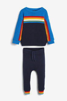 Next Knitted Ripple Jumper And Joggers Set (3mths-7yrs) - 269291