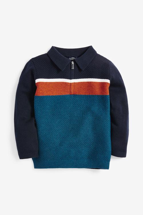 Next Textured Knitted Colourblock Polo (3mths-7yrs)