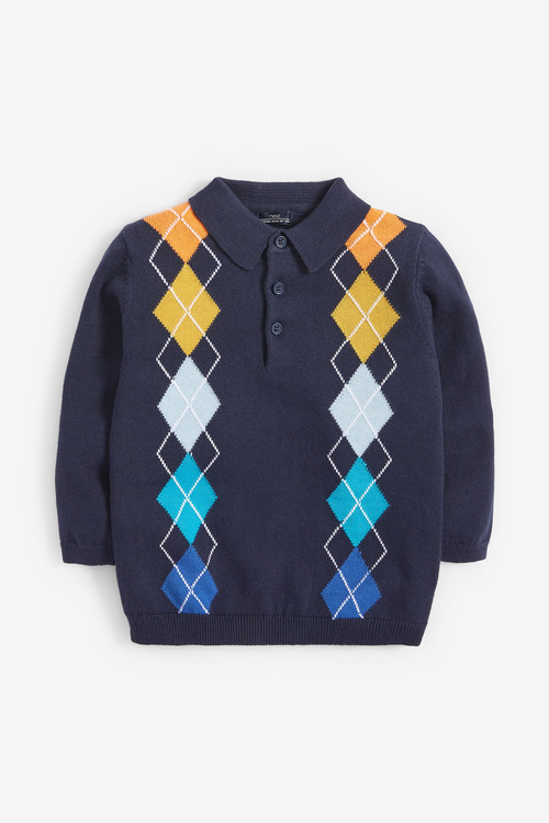 Next Knitted Rainbow Argyle Pattern Polo (3mths-7yrs)
