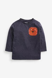 Next Long Sleeves Lion Pocket T-Shirt (3mths-7yrs) - 269338
