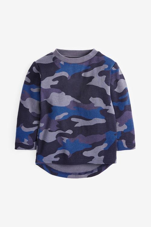 Next Long Sleeve Textured Camo T-Shirt (3mths-7yrs)