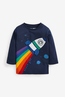 Next Long Sleeve Rainbow Rocket T-Shirt (3mths-7yrs) - 269347