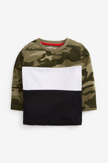 Next Long Sleeve Jersey Camo Colourblock T Shirt (3mths-7yrs) - 269374