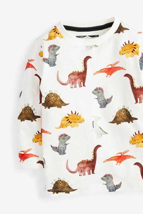 Next Long Sleeve Dino Print T-Shirt (3mths-7yrs)