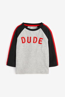 Next High Build Embroidered Dude Long Sleeve T-Shirt (3mths-7yrs) - 269384