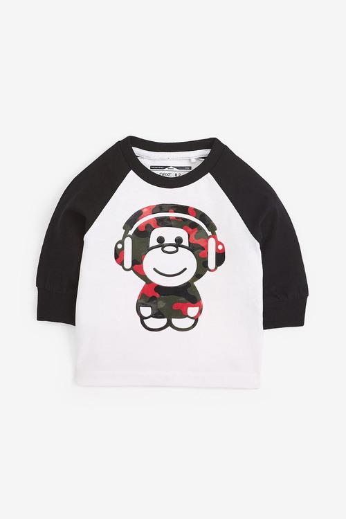 Next Long Sleeve Gel Print Monkey T-Shirt (3mths-7yrs)
