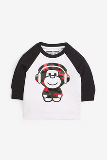 Next Long Sleeve Gel Print Monkey T-Shirt (3mths-7yrs) - 269387