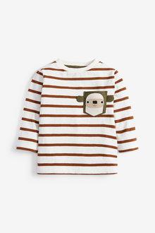 Next Jersey Stripe Appliqué Monkey Pocket Long Sleeve T-Shirt (3mths-7yrs) - 269389