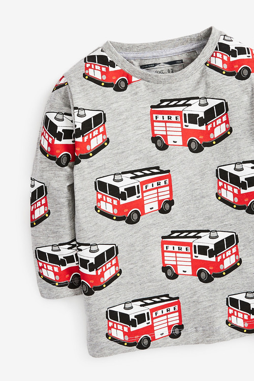Next Long Sleeve Fire Engine Printed T-Shirt (3mths-7yrs)