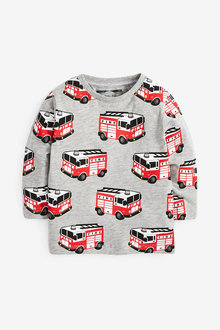 Next Long Sleeve Fire Engine Printed T-Shirt (3mths-7yrs) - 269390