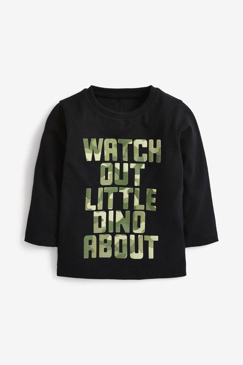 Next Long Sleeve Gel Print Slogan With Dino Spikes Back T-Shirt (3mths-7yrs)