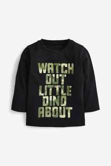Next Long Sleeve Gel Print Slogan With Dino Spikes Back T-Shirt (3mths-7yrs) - 269392