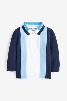 Next Long Sleeve Pique Vertical Stripe Poloshirt (3mths-7yrs) - 269441