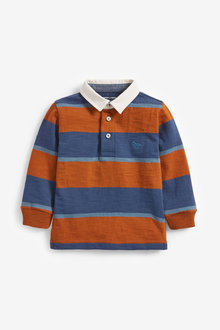 Next Long Sleeve Jersey Stripe Polo With Woven Collar (3mths-7yrs) - 269449
