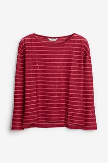 Next Sequin Stripe Long Sleeve T-Shirt - 269454