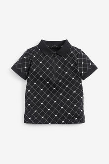 Next Printed Dino Short Sleeved Jersey Zip Neck Polo (3mths-7yrs) - 269460