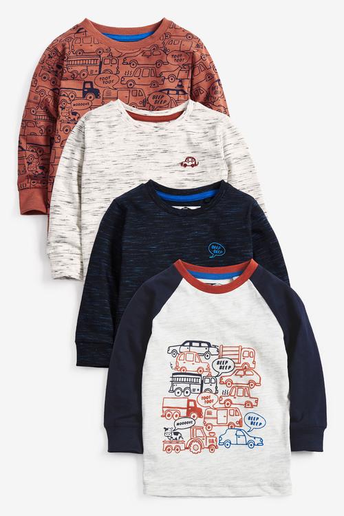 Next 4 Pack Long Sleeve Cars T-Shirts (3mths-7yrs)