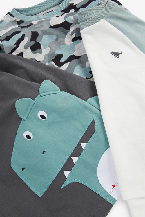 Next 3 Pack Dino Long Sleeve T-Shirts (3mths-7yrs)