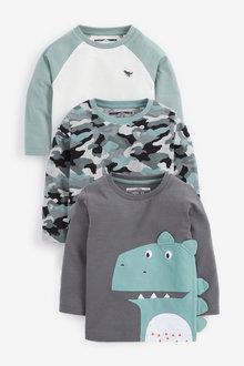Next 3 Pack Dino Long Sleeve T-Shirts (3mths-7yrs) - 269476