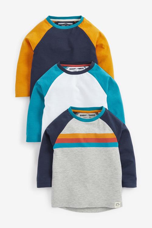 Next 3 Pack Raglan Long Sleeve T-Shirts (3mths-7yrs)
