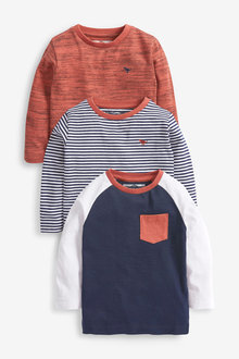 Next 3 Pack Long Sleeve Stripes T-Shirts (3mths-7yrs) - 269489