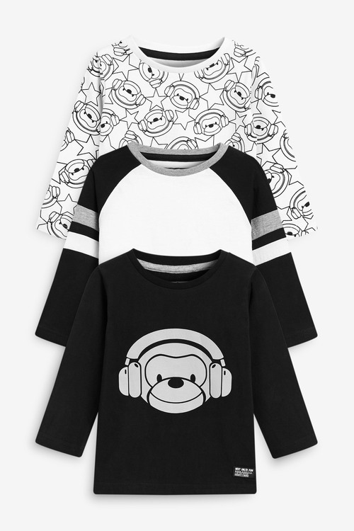 Next 3 Pack Jersey Reflective Monkey T-Shirts (3mths-7yrs)