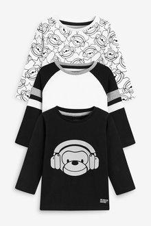 Next 3 Pack Jersey Reflective Monkey T-Shirts (3mths-7yrs) - 269493