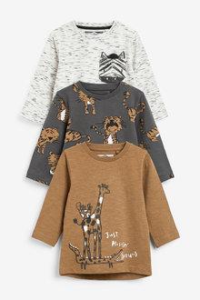 Next 3 Pack Jersey Safari Long Sleeve T-Shirts (3mths-7yrs) - 269503