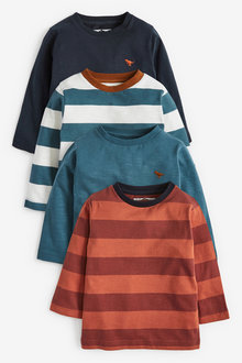 Next 4 Pack Jersey Stripe And Plain Long Sleeve T-Shirts (3mths-7yrs) - 269506