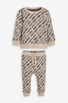 Next All Over Print Slogan Jersey Crew And Joggers Set (3mths-7yrs) - 269700
