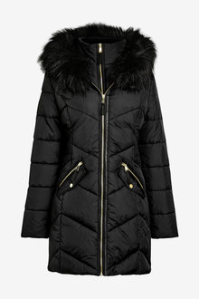 Next Halo Faux Fur Padded Jacket - Tall - 269974