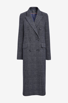Next Emma Willis Check Double Breasted Coat - Tall - 269985