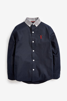 Next Long Sleeve Oxford Shirt With Check Collar (3-16yrs) - 270072