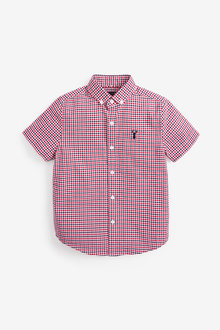 Next Short Sleeve Gingham Oxford Shirt (3-16yrs) - 270074