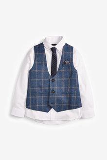 Next Windowpane Check Waistcoat, Shirt and Tie Set (12mths-16yrs) - 270089