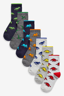 Next 7 Pack Cotton Rich Dinosaur Socks (Younger) - 270257