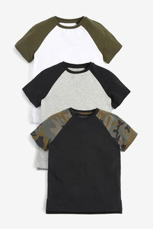 Next 3 Pack Camo Short Sleeve Raglan T-Shirts (3-16yrs) - 270258