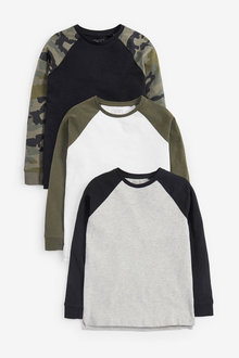 Next 3 Pack Camo Raglan T-Shirts (3-16yrs) - 270265