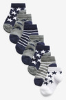 Next 7 Pack Cotton Rich Dinosaur/Star Trainer Socks (Younger)
