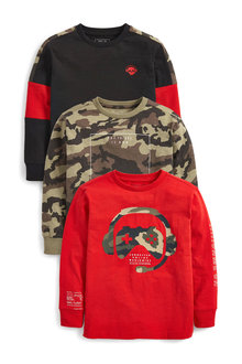 Next 3 Pack Controller Long Sleeve T-Shirts (3-16yrs) - 270313