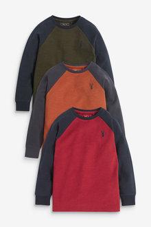 Next 3 Pack Long Sleeve Raglan T-Shirts (3-16yrs) - 270319